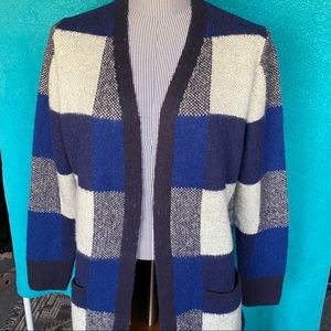 Lucky Brand Blue Checkered Cardigan